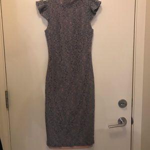 Blue lace midi dress size small